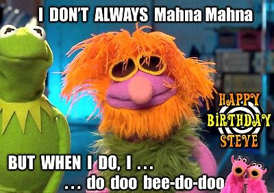 (MUPPETS The Mahna Mahna Song Personalised spoof Happy Birthday Greeting Art Card)
