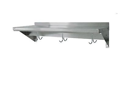 Stainless Steel Commercial Wall Mounted Shelf With Pot Rack 12x84