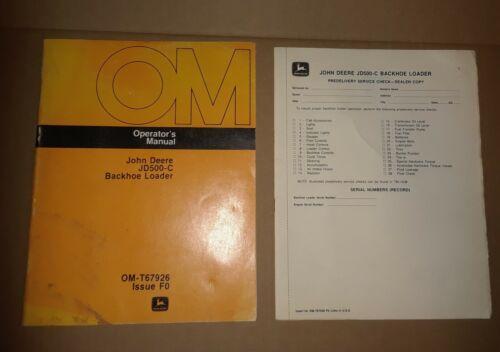 John Deere Operators Manual JD500-C Backhoe Loader VG+