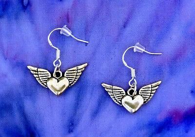 ANGEL WINGS WINGED HEART SILVER DANGLE EARRINGS~MOTHERS DAY GIFT~STERLING HOOK