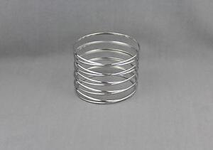 Silver-spiral-bracelet-coil-spring-stacked-style-metal-bangle-cuff-wide-bracelet