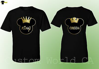 Couple Matching Love T-Shirts - NEW King & Queen - His and Hers New Design Tees (His And Hers Shirts)