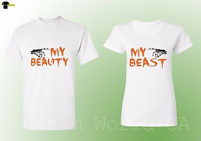 Halloween Couple Shirts Scary His and Hers Matching Tee My Beauty Beast (White)