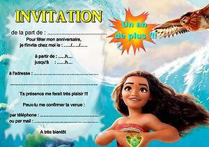 5 12 ou 14 cartes invitation anniversaire vaiana ref 422 for Ou avoir des cartons gratuits