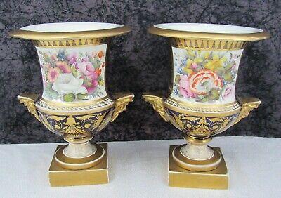 Exquisite Pair Antique Paris Porcelain Hand-Painted Botanical Bolted Mantle Urns