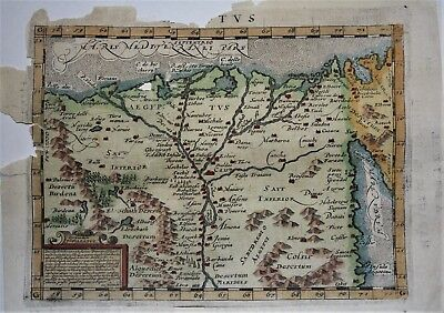 ABRAHAM ORTELIUS 1604 8VO H/C MAP OF EGYPT AEGYPTVS LATIN TEXT