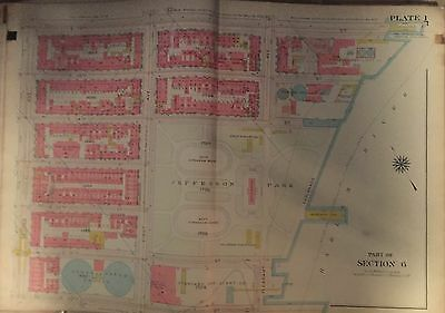 1914 G.W. BROMLEY UPPER MANHATTAN EAST HARLEM MAP ATLAS 110th - 116th 22X32