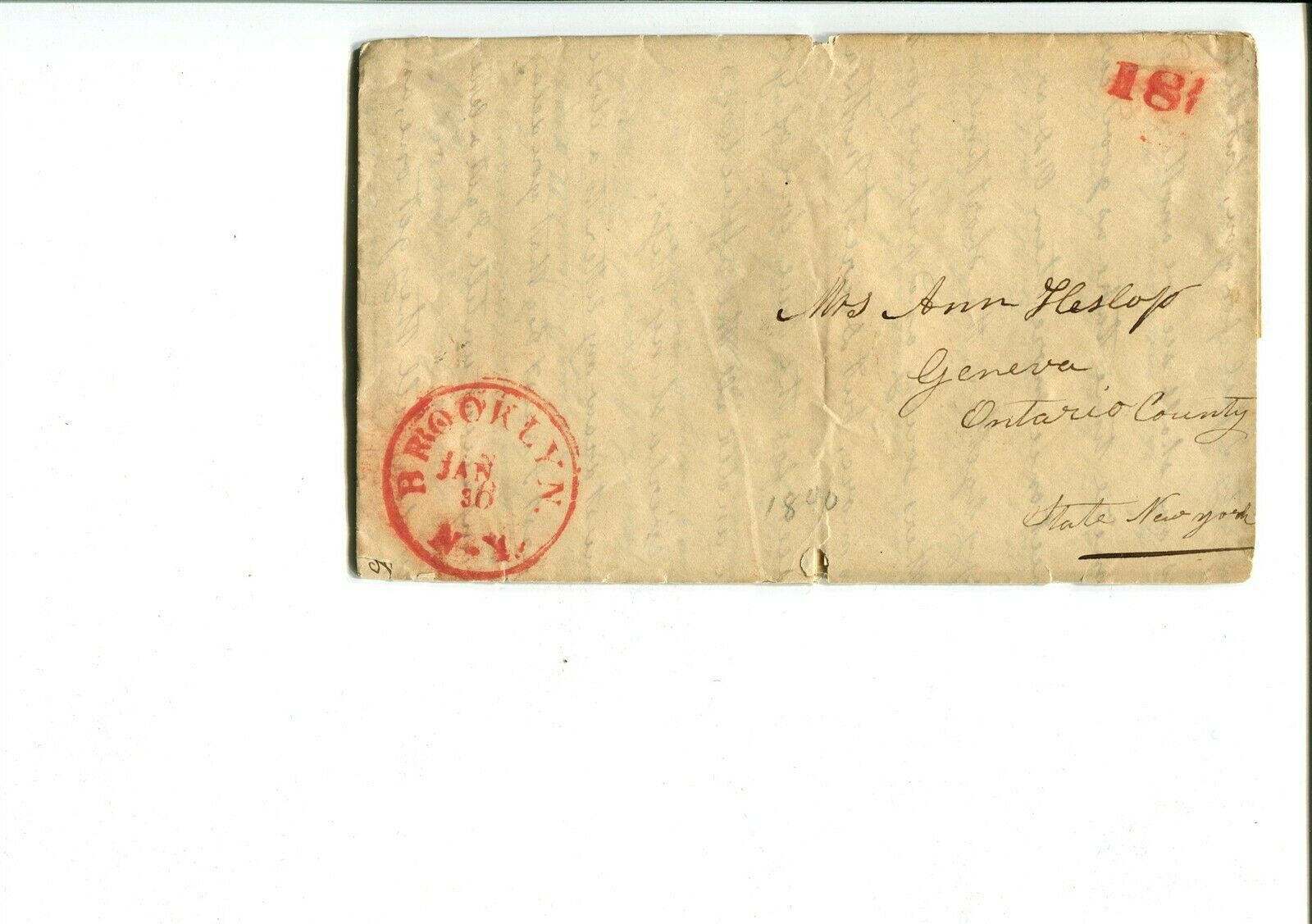GP GOLDPATH US STAMPLESS COVER 1840,W/LETTER, BROOKLYN, NY. CV747 P12 - $15.50