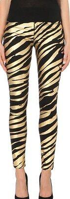 (Hudson Black Nico Metallic Zebra-Print Super-Skinny Mid-Rise Jeans Sz 24 NWT)