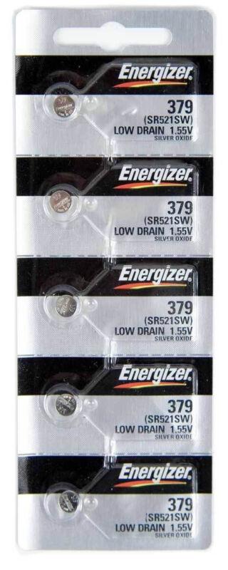 5Pcs Energizer 379 (SR521SW) Silver Oxide Watch Batteries