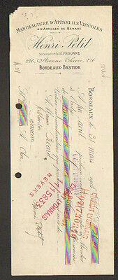 """BORDEAUX - BASTIDE (33) APPAREILS VITICOLES """"HENRI PETIT"""" en 1908"""