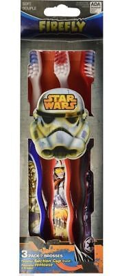 STAR WARS 3 PIECES TOOTHBRUSH KIDS SUCTION CUPS 100% ORIGINAL LICENSED GIFT NIP - Star Wars Kids Gifts