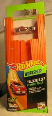 HOT WHEELS WORKSHOP TRACK BUILDER STRAIGHT TRACK 15' FT WITH CONNECTORS +CAR