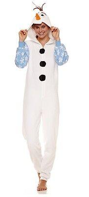 One Piece Pajama Halloween Costumes (DISNEY'S FROZEN HOODED OLAF ONE-PIECE PAJAMA WOMENS SIZE XL Halloween)