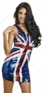 Sparkly SEQUINNED Union Jack LONG dress - UK 8/10 small fitting BRITISH Flag