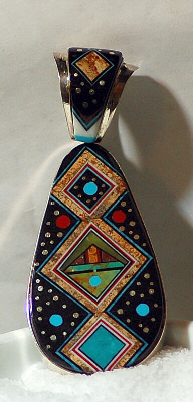 Double Sided Inlay Ray Jack Navajo Sterling Silver Pendant