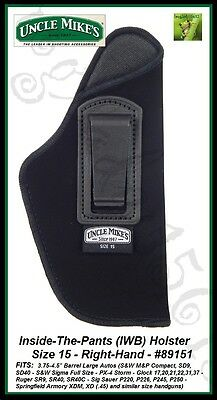 UNCLE MIKE'S INSIDE-THE-PANTS - IWB - SIZE 15 - RH - OPEN STYLE HOLSTER - 89151