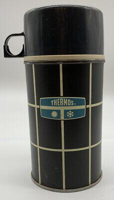 Vintage Black Plaid Thermos Half Pint Size Bottle No 2834
