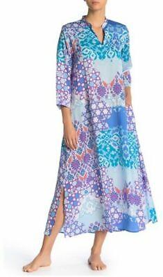 N Natori Tile Geometric Printed Silky Satin Caftan Blue Size Large -