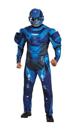 Halo - Blue Spartan Deluxe Adult Mens Muscle Costume With Mask XLarge (42-46)
