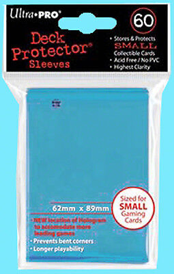 60 Ultra Pro DECK PROTECTOR Small Size LIGHT BLUE Card Sleeves NEW gaming yugioh Blue Card Sleeves