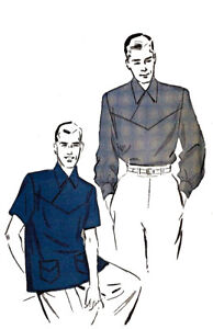 1f128e893c0 Vintage 1950 s Sewing Pattern Rockabilly Men s Shirt Front Detailing C ...