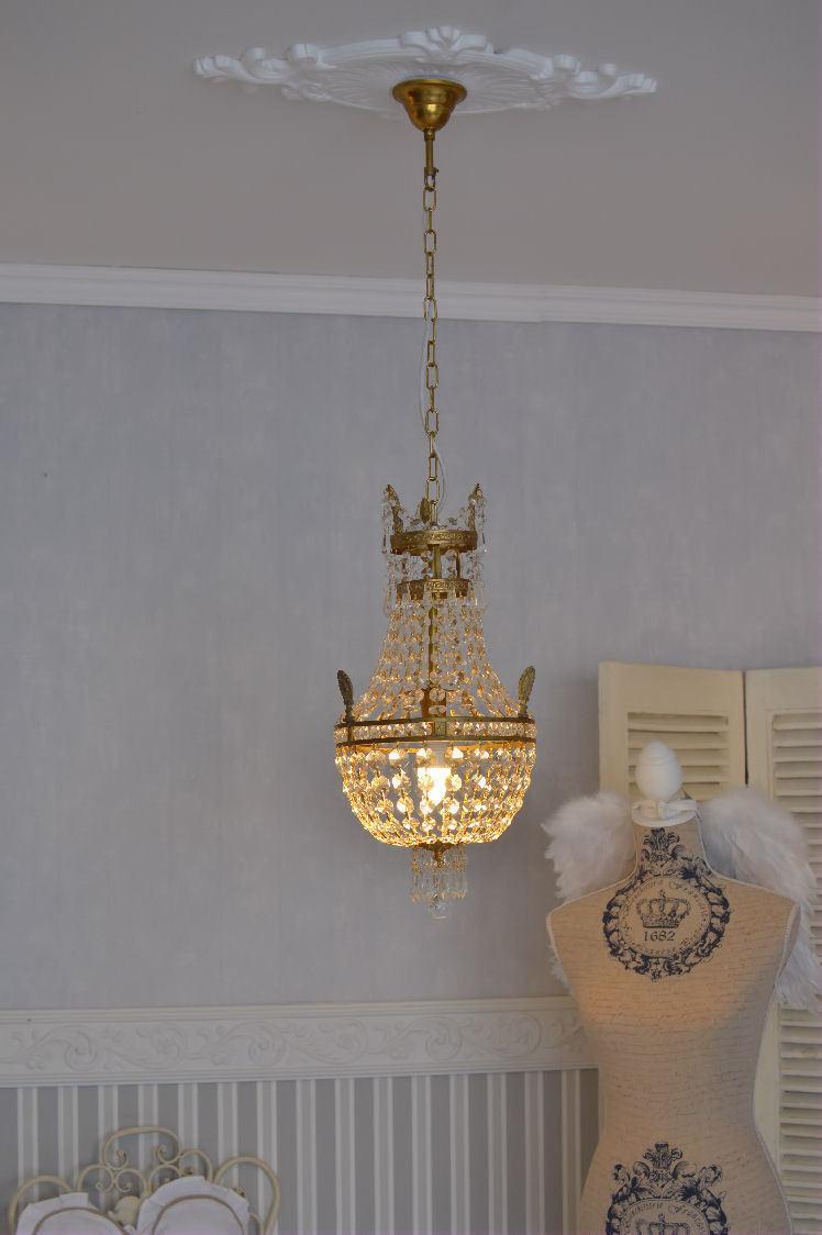 Korblüster Barock Lampe Deckenleuchte Deckenlampe Kristallleuchter Hängelampe