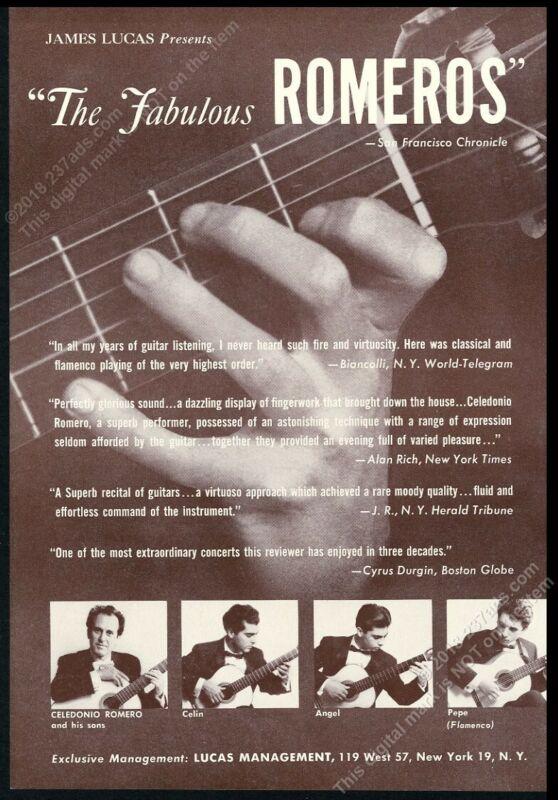 1962 Celedonio Celin Angel Pepe Romero photo USA guitar tour booking print ad