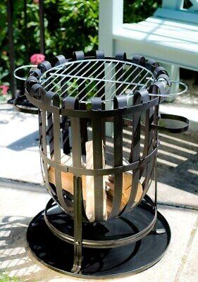 Steel Firepit & BBQ Grill Fire Bowl Patio Heater Fire Basket Garden Incinerator
