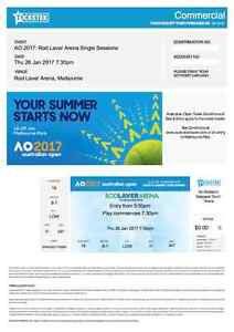 Australian Open Tennis 2017 Men's Semi Final tickets x2 Maroubra Eastern Suburbs Preview