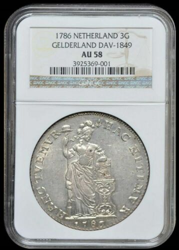 1786 Netherlands Gelderland 3 Gulden NGC AU58 Almost Uncirculated