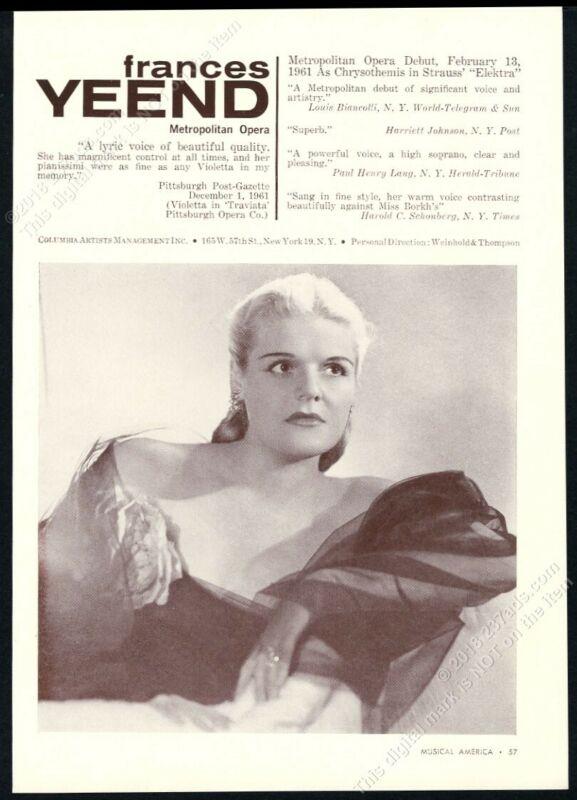 1962 Frances Yeend photo USA singing recital tour booking trade print ad