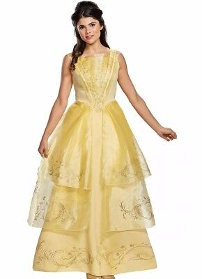 Belle Ball Gown Deluxe Adult Costume Dress Disney Princess S 4-6 M 8-10 L 12-14](Disney Princesses Costumes Adults)