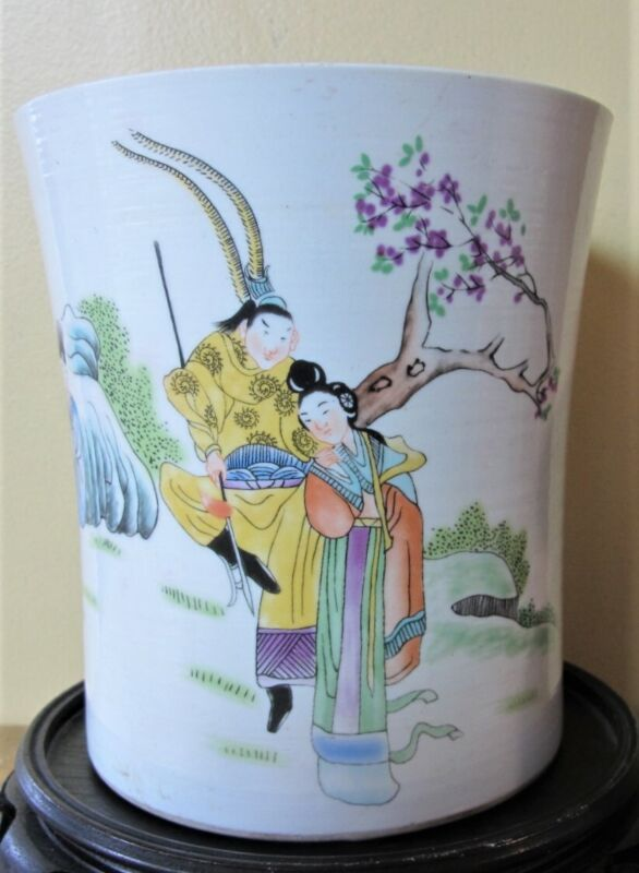 Fine Antique CHINESE QING DYNASTY Porcelain Brush Pot  c. 1870  Excellent Cond.
