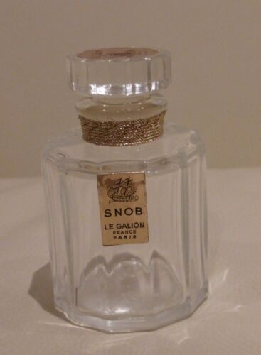 "VINTAGE LE GALLION SNOB EMPTY PERFUME BOTTLE WITH GLASS STOPPER 2.5"" TALL"