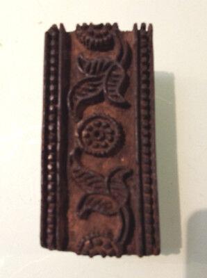 Vintage Wooden Rectangular  Shaped Textile Stamping Block With Floral  Design