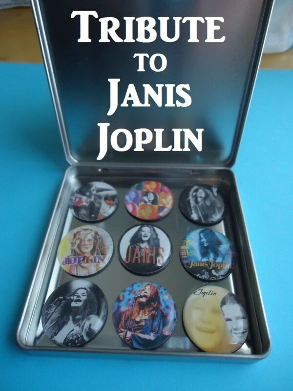 Janis Joplin Frig Magnets with Magnetic Collector Tin Tribute 2 Joplin Nice Gift