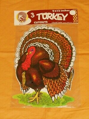 vintage Beistle THANKSGIVING TURKEY DECORATIONS cutouts new/sealed MIP NOS