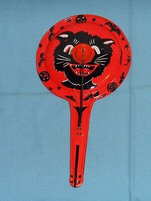 vintage Halloween KIRCHHOF tin NOISEMAKER black cat face bats stars pumpkins - Vintage Halloween Cat Faces
