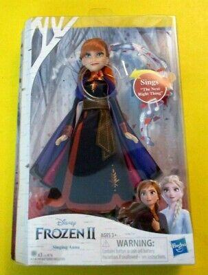 "Disney Frozen 2 Singing Anna Doll 11"" Wearing Purple Gown NIB includes batteries"