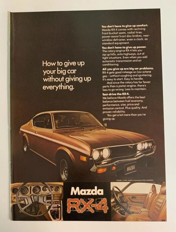 1973 Mazda RX-4 RX4 Print Ad Advertising Car Auto Coupe