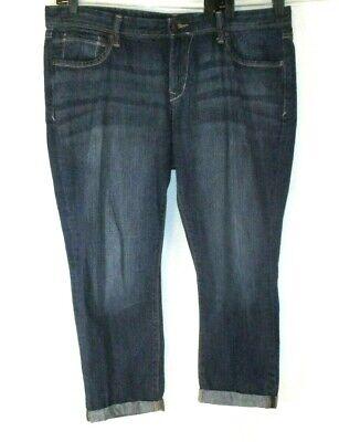 Old Navy Jean Crop Capri Pants Cuffed Sz 16 Ultra Blue Denim Women CBT15 Cuffed Denim Crop Pants