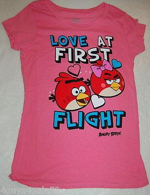 JR Womens Tee Shirt PINK Love at First Flight ANGRY BIRDS Cap Sleeve S 3-5 Bird Womens Cap Sleeve T-shirt