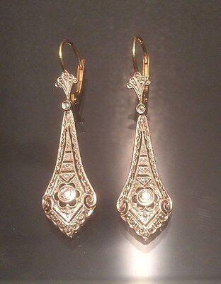 Ohrringe mit Brillanten 0,1 ct. Art Deco 14 K/585er Gold -sehr hübsch-