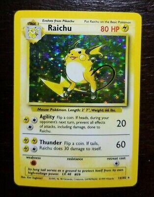 RAICHU 1999 Base Set Holo Near Mint Rare Pokemon Card 14/102 PSA WOTC TCG