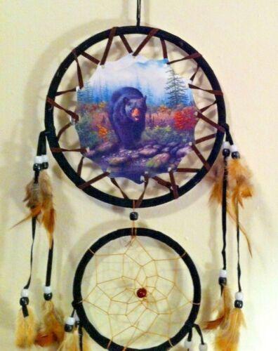 Cherokee Black Dream Catcher, Black Bear Printed on Canvas, Feathers, Beads