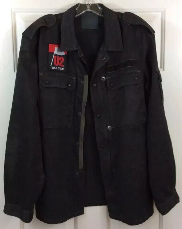 U2 WAR TOUR Black Camo Shirt Jacket Zip Up and Snaps Men's Size S Rare!