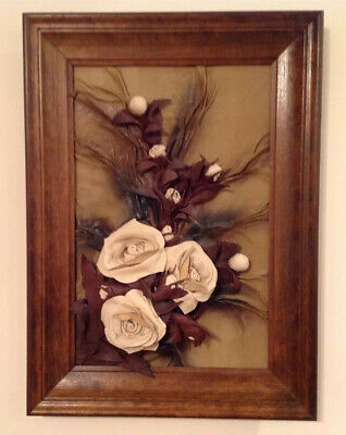 Leather Wall Art Handmade 3D Flower Brown And Tan Framed