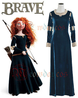 Princess Merida Dress for Brave Adult Women Halloween Cosplay Costume Ball Gown