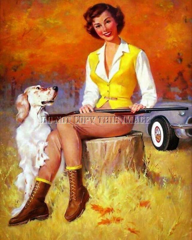 ANTIQUE REPRO 8X10 PHOTO PRINT WOMAN UPLAND BIRD HUNTING ENGLISH SETTER 2